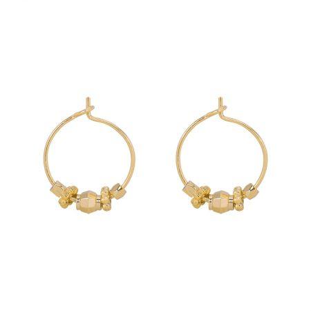 Earings Little dancing cones Afmeting 1.5cm x 0cm Kleur goud Samenstelling copper gold plated Prijs 9,95