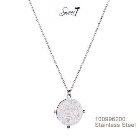 Zilveren ketting munt bee van sweet7
