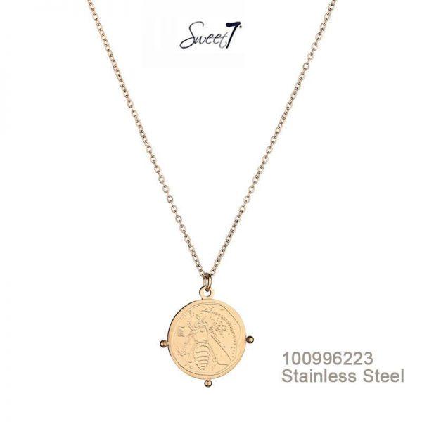 Gouden ketting munt bee van sweet7